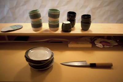 Levi's handmade tableware for New York Sushi Ko, an 11-seat omakase restaurant.