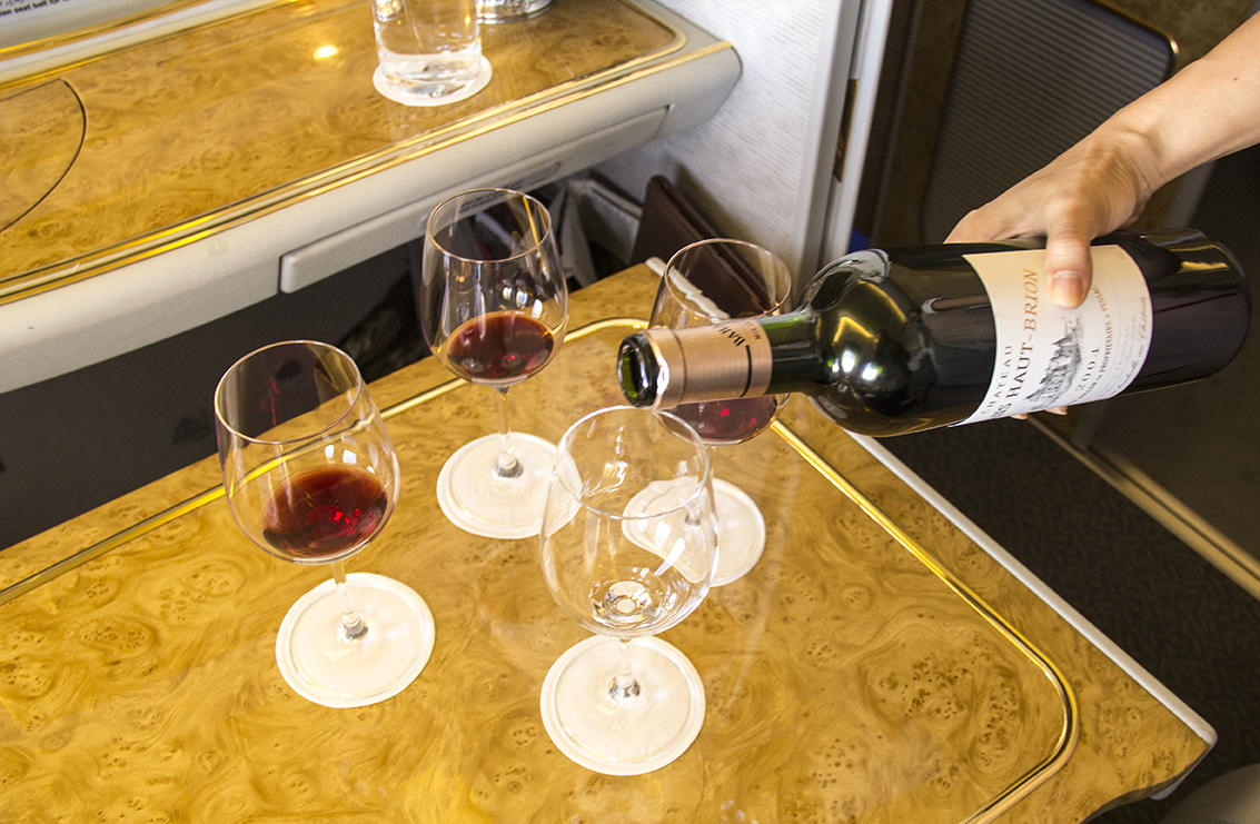 Emirates, airlines, wine list, wine, pouring, first class, dining, drinking, menu