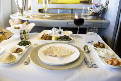 emirates, first class, dining, food, meal, industrial design,