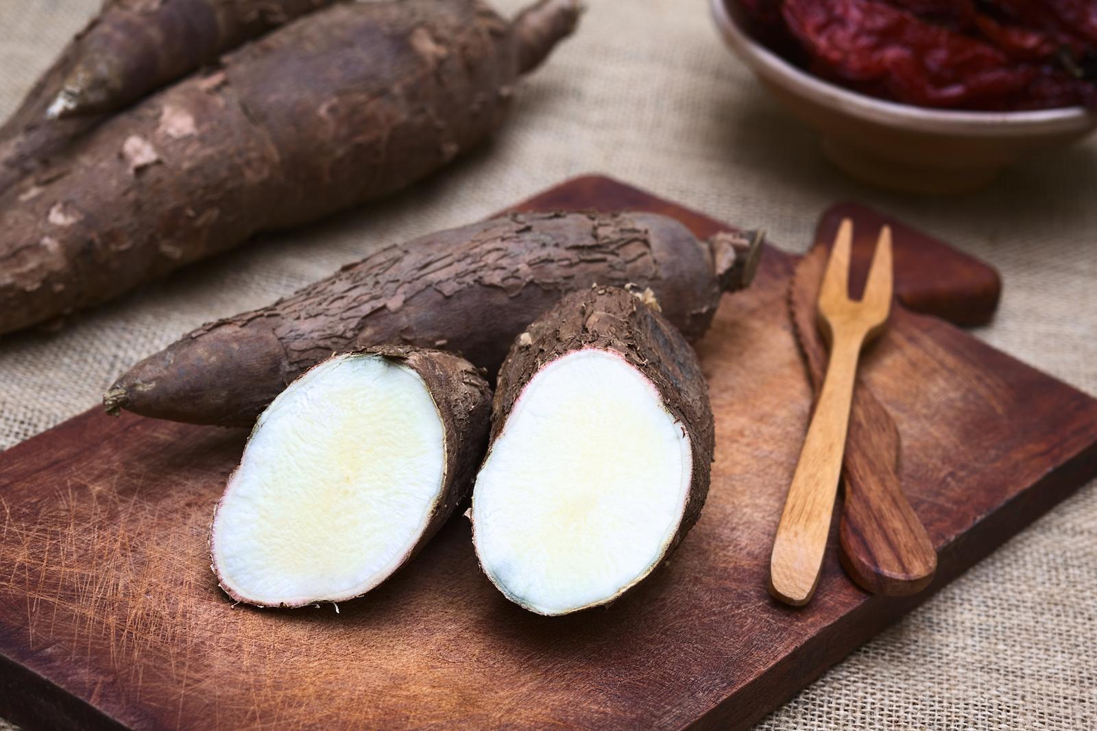 Raw cassava root aka manioc