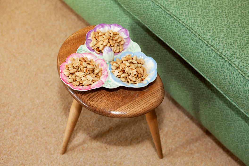 GB. England. Malvern. Food is laid out for Martin Parr's mother's 80th birthday. 2009.