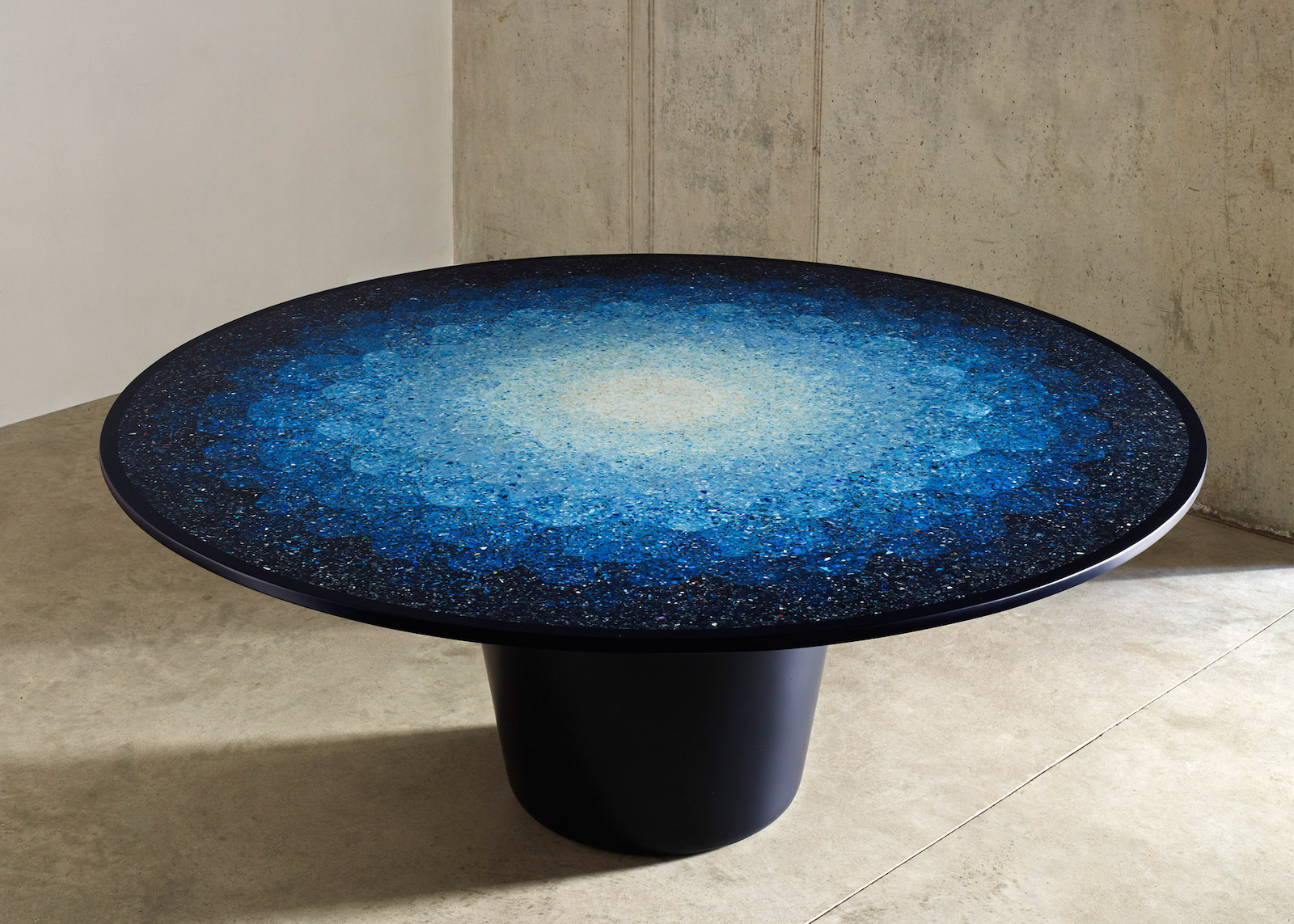 Brodie Neill's Gyro Table made from harvested ocean plastics. At the 2016 London Design Biennial, Australia Pavilion.