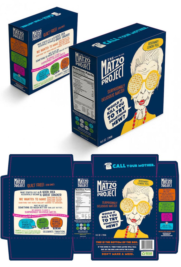 Full spread of The Matzo Project box illustrates the collaboration process behind the product. Image via Behance.het
