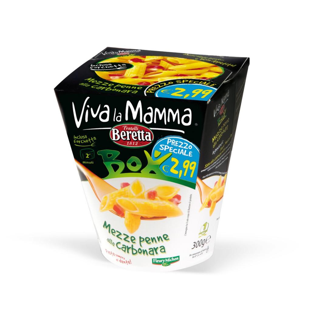 Viva la Mamma Box Italian pasta carbonara for microwave. Image via Mammacheblog