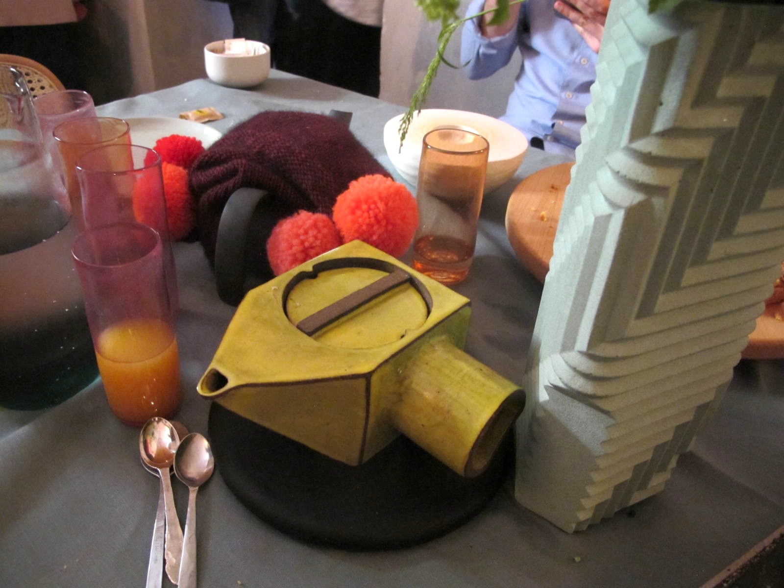 Joobel Thom's ceramic teapot at Makers + Bakers by Airbnb and Ambra Medda at Ristorante Marta.