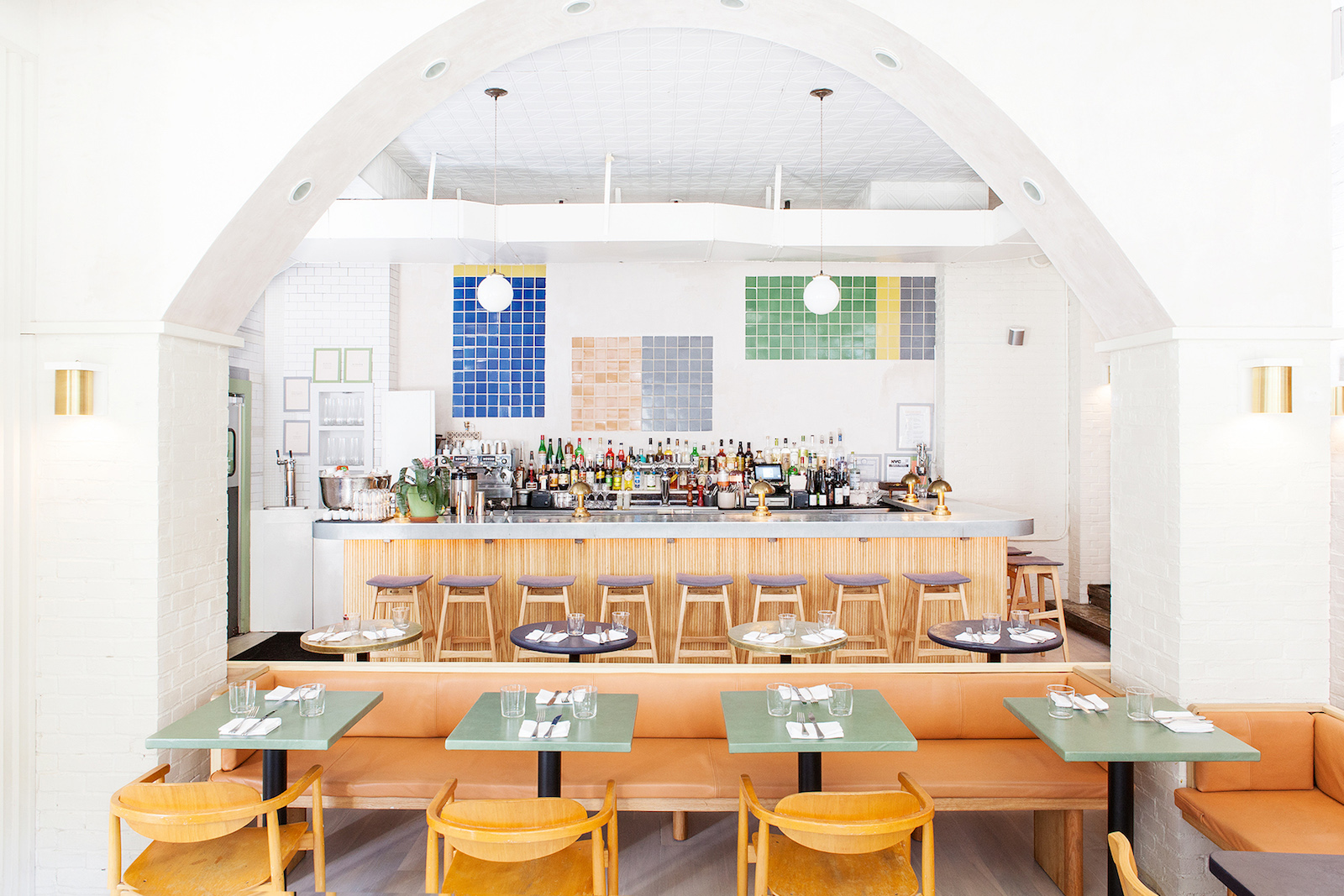 The interior of De Maria, a vegetable-forward, casual restaurant in New York's SoHo neighborhood, designed by The MP Shift.