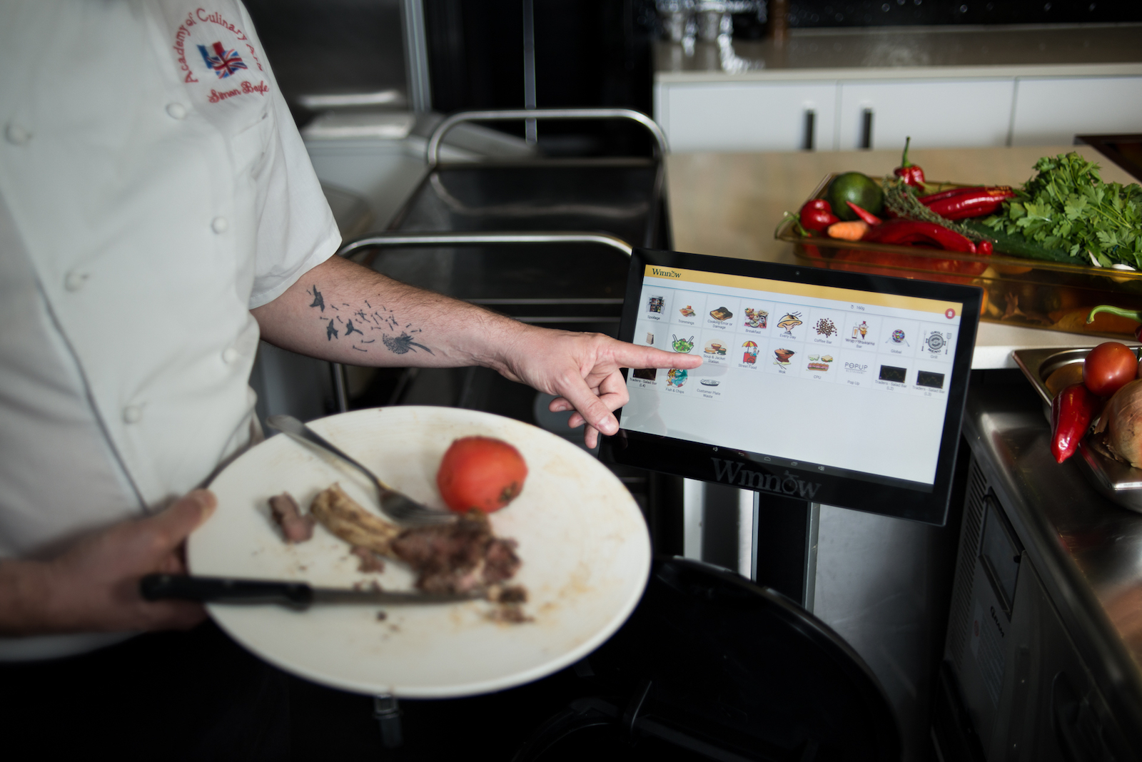 Winnow's smart kitchen scale logs waste and sends recommendations on how management might reduce food waste.