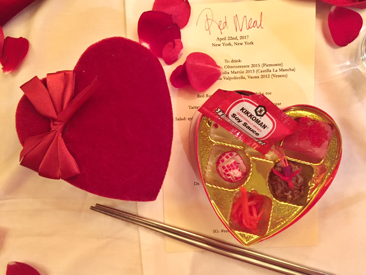"A chocolate box filled with edible red delights for Jen Monroe's  ""Red Meal."""
