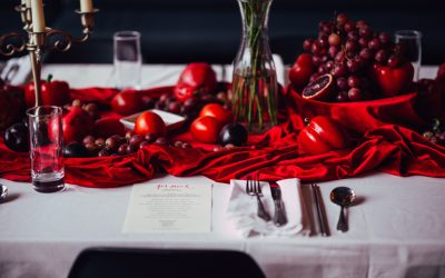 """Table setting for Jen Monroe's """"Red Meal."""" Photo by Steven Acres."""