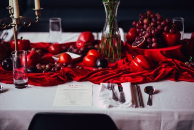 "Table setting for Jen Monroe's ""Red Meal."" Photo by Steven Acres."