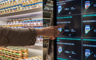 Digital information including provenance, nutritional value and preparation advice is layered into digital screens in Carlo Ratti x Coop Italia's Supermarket of the Future.