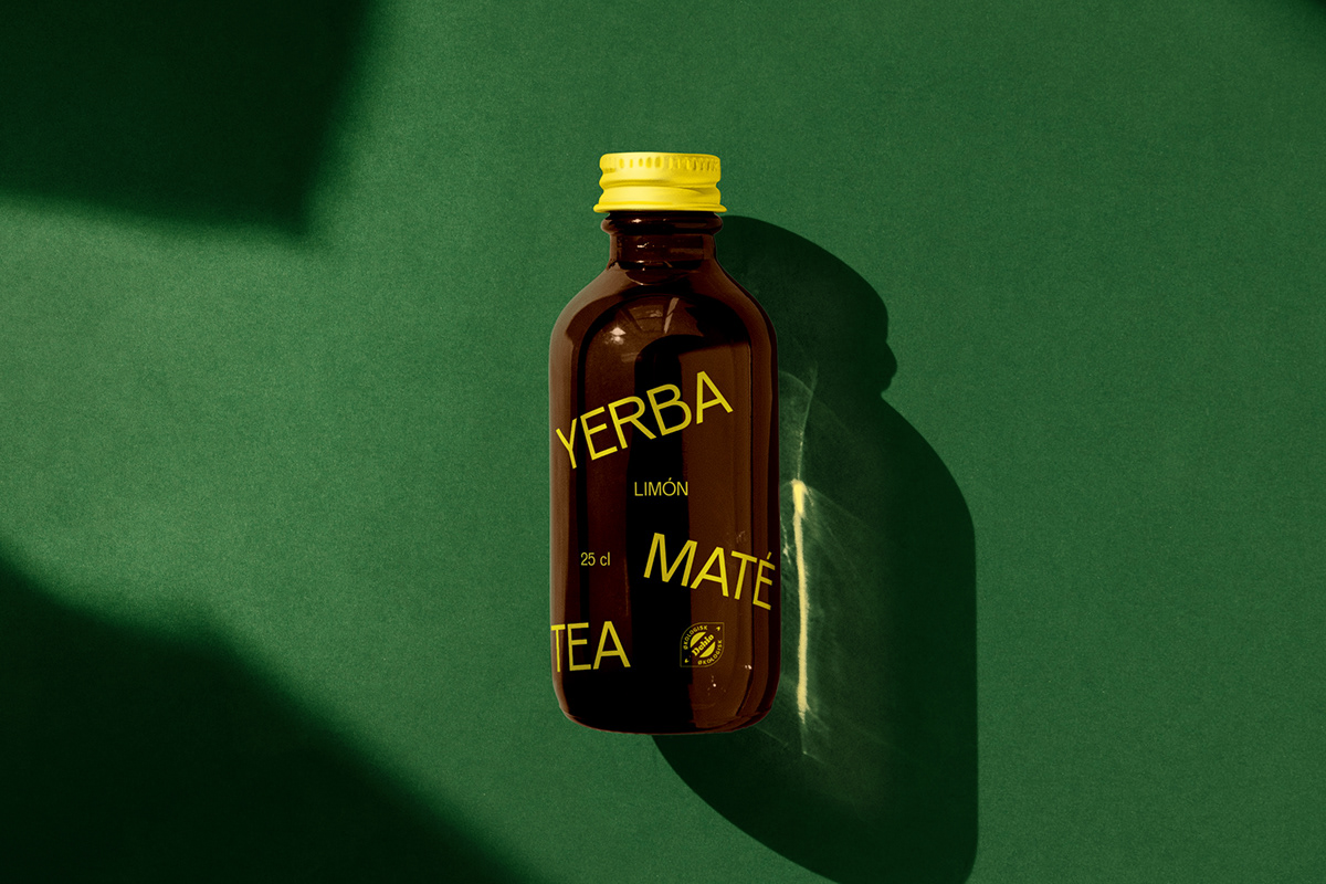 A bottle of yerba mate sustainably packaged in a brown glass bottle.